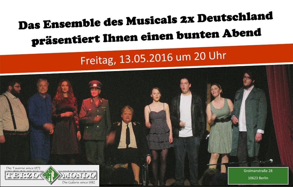 ensemblebild des musicals 2x deutschland